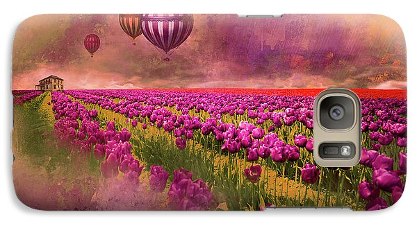Galaxy Case featuring the photograph Hot Air Balloons Over Tulip Fields by Jeff Burgess