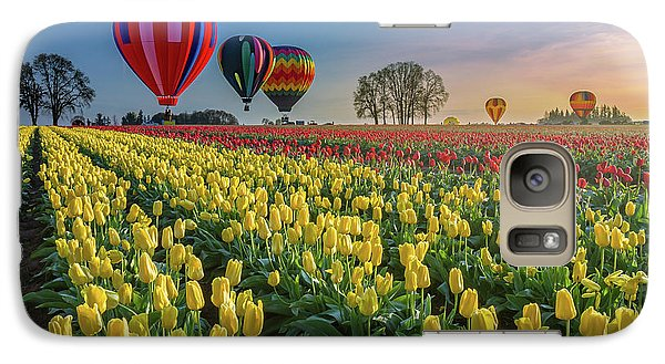 Galaxy Case featuring the photograph Hot Air Balloons Over Tulip Fields by William Lee