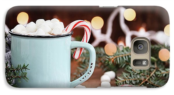Galaxy Case featuring the photograph Hot Cocoa With Marshmallows And Candy Canes by Stephanie Frey