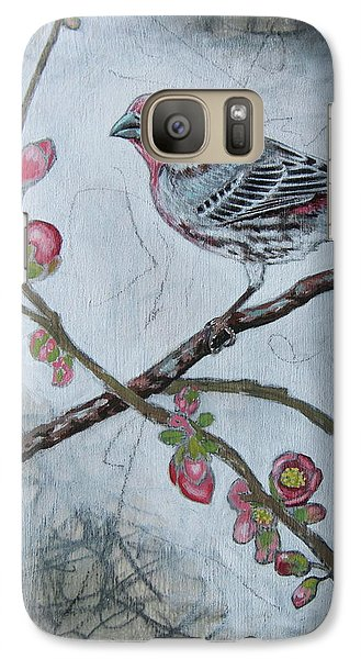 Galaxy Case featuring the mixed media House Finch by Sheri Howe