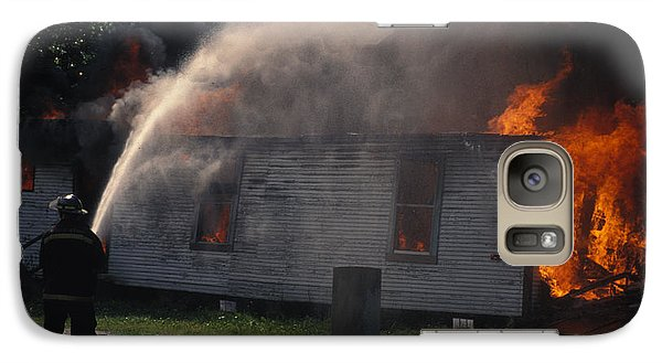 Galaxy Case featuring the photograph House On Fire by Carl Purcell