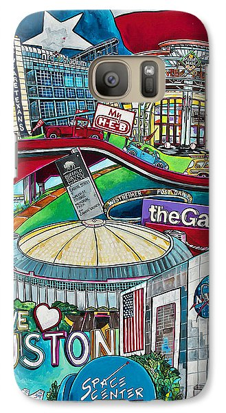 Galaxy Case featuring the painting Houston Montage Two by Patti Schermerhorn