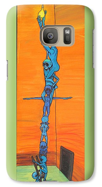 Galaxy Case featuring the painting How Many Aliens Does It Take To Screw In A Light Bulb?  Seven. by Similar Alien