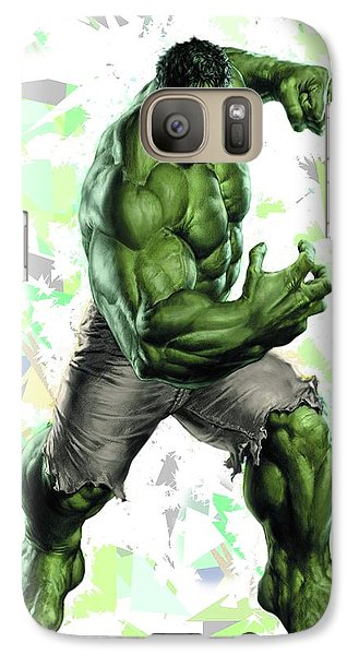 Galaxy Case featuring the mixed media Hulk Splash Super Hero Series by Movie Poster Prints