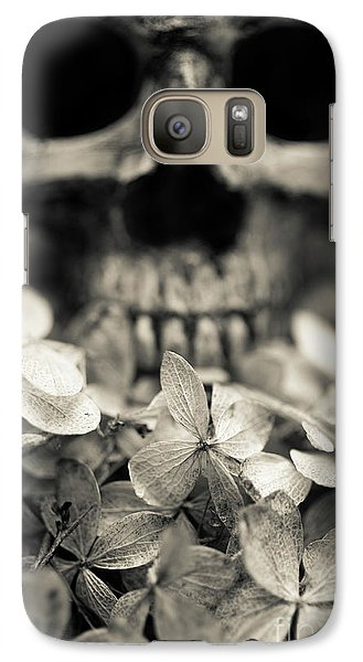 Galaxy Case featuring the photograph Human Skull Among Flowers by Edward Fielding
