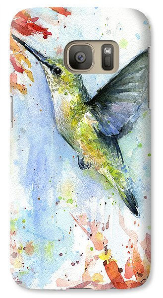 Hummingbird And Red Flower Watercolor Galaxy S7 Case by Olga Shvartsur