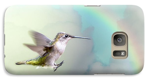 Galaxy Case featuring the photograph Hummingbird Under Rainbow by Bonnie Barry