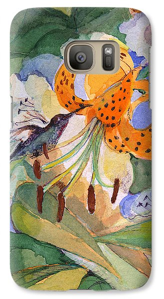 Galaxy Case featuring the painting Hummingbird With Flowers by Nancy Watson