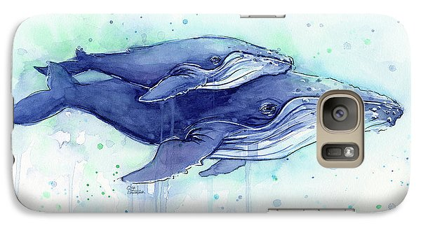 Humpback Whales Mom And Baby Watercolor Painting - Facing Right Galaxy S7 Case