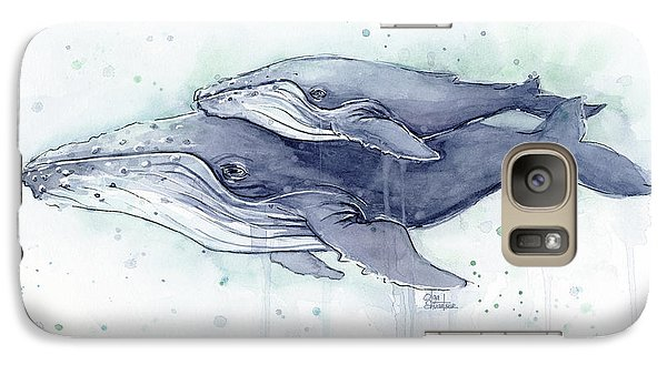 Humpback Whales Painting Watercolor - Grayish Version Galaxy S7 Case