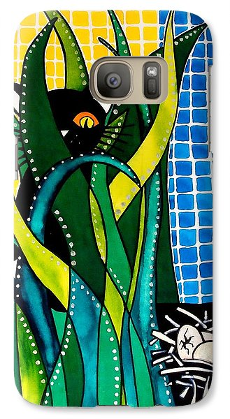 Hunter In Camouflage - Cat Art By Dora Hathazi Mendes Galaxy S7 Case by Dora Hathazi Mendes
