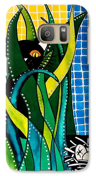 Galaxy Case featuring the painting Hunter In Camouflage - Cat Art By Dora Hathazi Mendes by Dora Hathazi Mendes