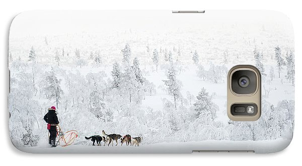 Galaxy Case featuring the photograph Husky Safari by Delphimages Photo Creations
