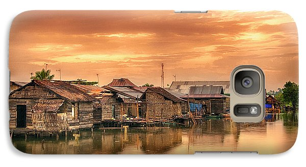 Galaxy Case featuring the photograph Huts On Water by Charuhas Images
