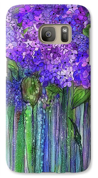 Galaxy Case featuring the mixed media Hydrangea Bloomies 1 - Purple by Carol Cavalaris