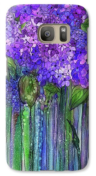 Galaxy Case featuring the mixed media Hydrangea Bloomies 2 - Purple by Carol Cavalaris