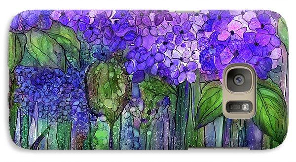 Galaxy Case featuring the mixed media Hydrangea Bloomies 3 - Purple by Carol Cavalaris