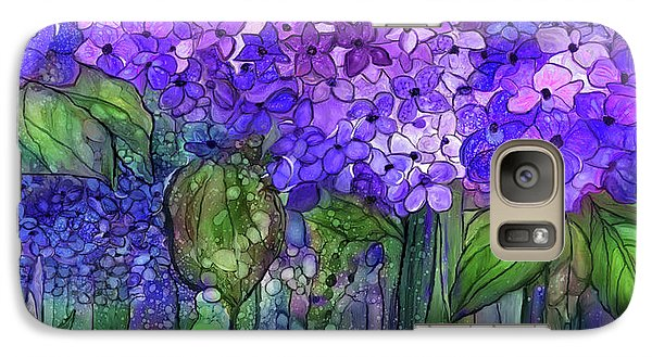 Galaxy Case featuring the mixed media Hydrangea Bloomies 4 - Purple by Carol Cavalaris