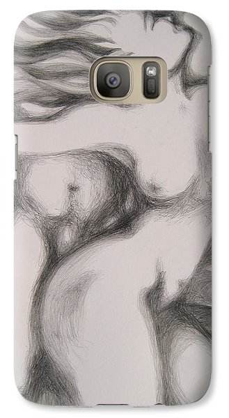 Galaxy Case featuring the drawing I Am The Fire by Marat Essex