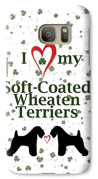 Galaxy Case featuring the digital art I Love My Soft Coated Wheaten Terriers by Rebecca Cozart