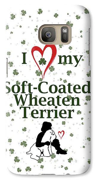 Galaxy Case featuring the digital art I Love My Wheaten Terrier by Rebecca Cozart