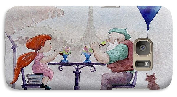 Galaxy Case featuring the painting I Love Paris Grandpa by Geni Gorani