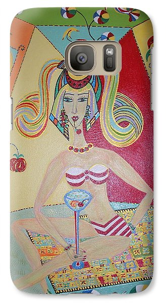 Galaxy Case featuring the painting I Love This Cherry by Marie Schwarzer