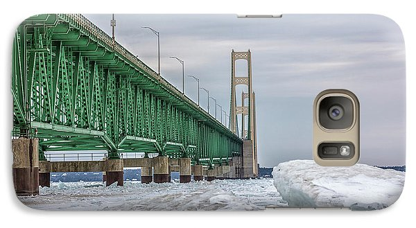 Galaxy Case featuring the photograph Ice And Mackinac Bridge  by John McGraw