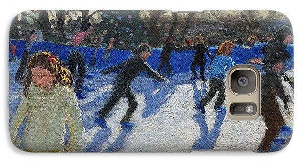 Hyde Park Galaxy S7 Case - Ice Skaters At Christmas Fayre In Hyde Park  London by Andrew Macara