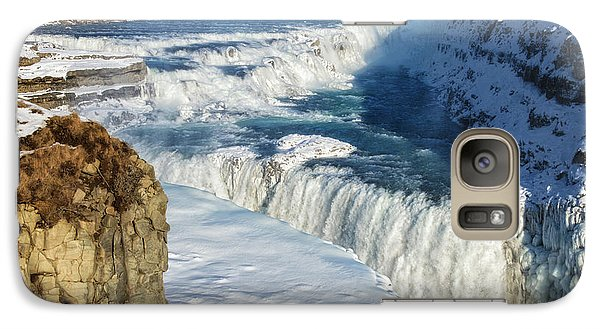 Galaxy Case featuring the photograph Iceland Gullfoss Waterfall In Winter With Snow by Matthias Hauser