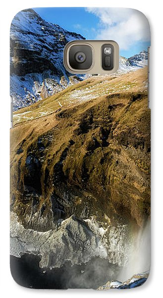 Galaxy Case featuring the photograph Iceland Landscape With Skogafoss Waterfall by Matthias Hauser