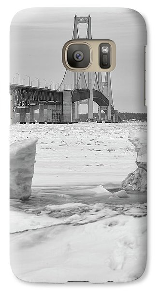 Galaxy Case featuring the photograph Icy Black And White Mackinac Bridge  by John McGraw