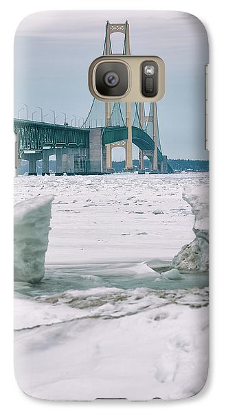 Galaxy Case featuring the photograph Icy Day Mackinac Bridge  by John McGraw
