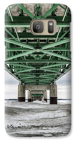 Galaxy Case featuring the photograph Icy Mackinac Bridge In Winter by John McGraw