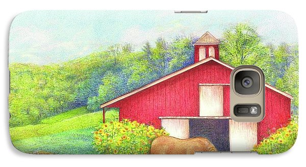 Galaxy Case featuring the painting Idyllic Summer Landscape Barn With Horse by Judith Cheng