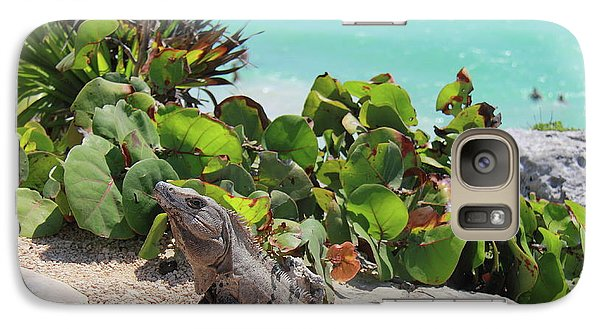Galaxy Case featuring the photograph Iguana At Tulum by Roupen  Baker