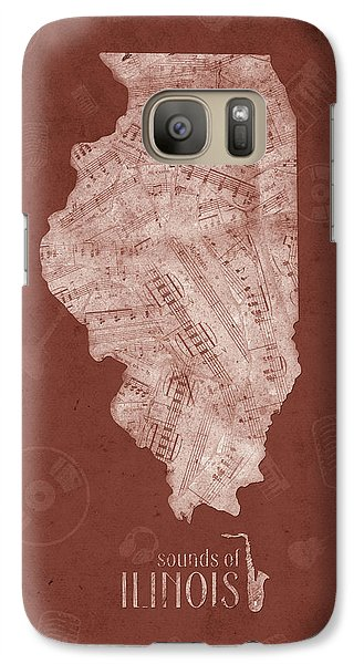 Illinois Map Music Notes 5 Galaxy S7 Case