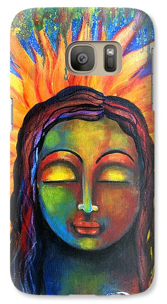 Galaxy Case featuring the mixed media Illuminated By Her Own Radiant Self by Prerna Poojara