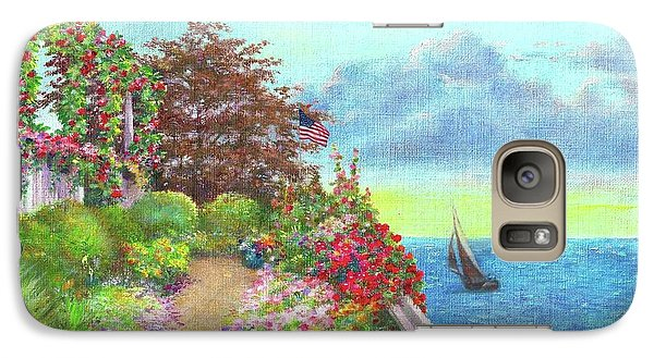 Galaxy Case featuring the painting Illustrated Beach Cottage Water's Edge by Judith Cheng