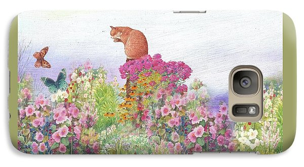 Galaxy Case featuring the painting Illustrated Cat In Garden by Judith Cheng