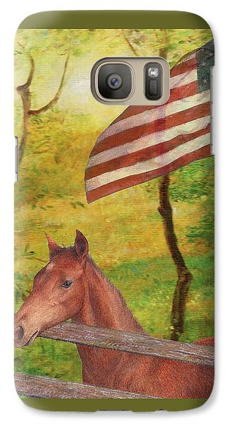 Galaxy Case featuring the painting Illustrated Horse In Golden Meadow by Judith Cheng