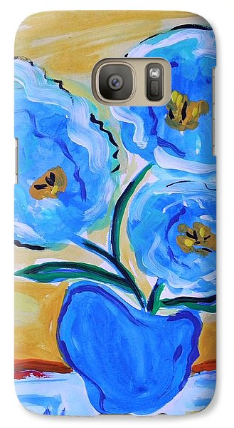 Galaxy Case featuring the painting Imagine In Blue by Mary Carol Williams