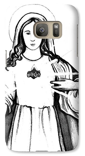 Galaxy Case featuring the drawing Immaculate Heart Of Mary by Mary Ellen Frazee