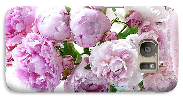 Galaxy Case featuring the photograph Impressionistic Romantic Pink Peonies Watercolor Romantic Floral Decor - Pink Peony Decor by Kathy Fornal