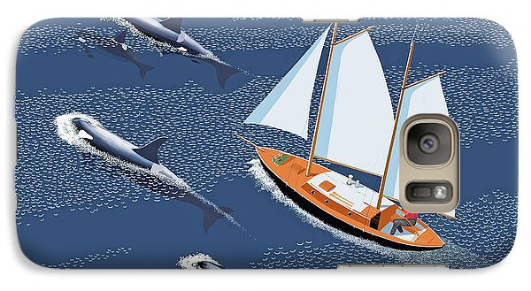 Galaxy Case featuring the digital art In The Company Of Whales by Gary Giacomelli