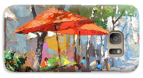 Galaxy Case featuring the painting In The Shadow Of Cafe by Dmitry Spiros