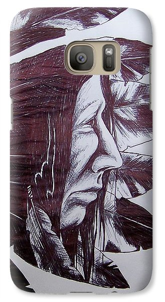 Galaxy Case featuring the drawing Indian Feathers by Michael  TMAD Finney