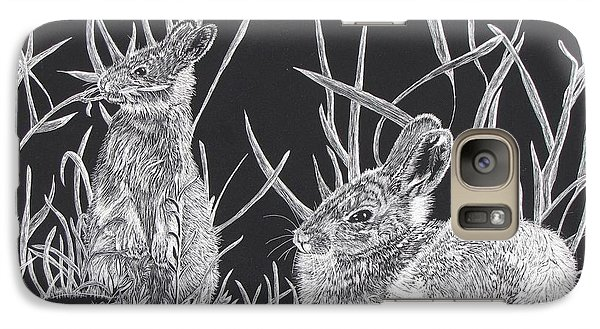 Galaxy Case featuring the mixed media Indian Ink Rabbits by Kevin F Heuman