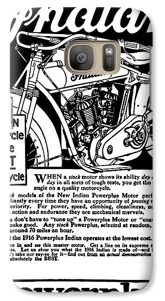 Galaxy Case featuring the digital art Indian Power Plus Motocycle Ad 1916 by Daniel Hagerman