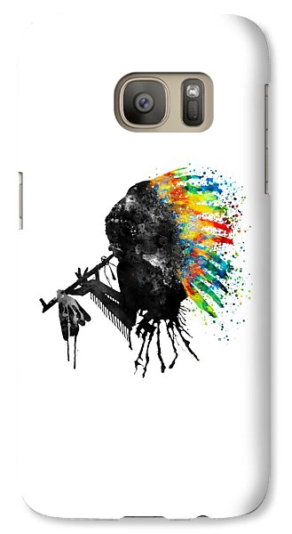 Galaxy Case featuring the mixed media Indian Silhouette With Colorful Headdress by Marian Voicu